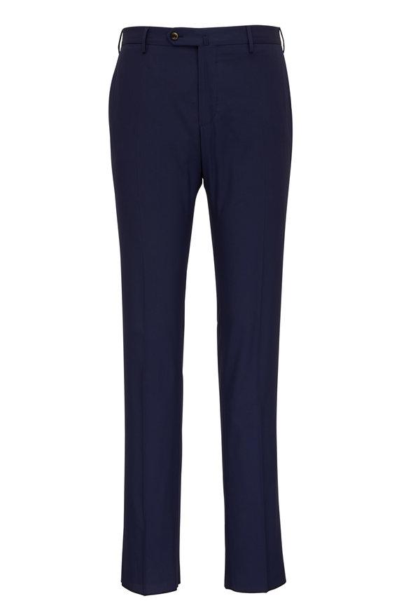PT Torino Navy Cotton Flat Front Pant