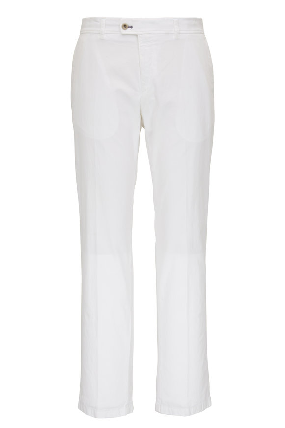 Brax Evans White Brushed Cotton Flat Front Pant