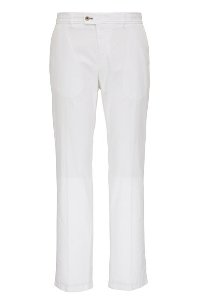 Brax - Evans White Brushed Cotton Flat Front Pant