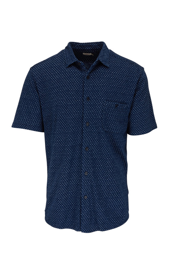 Faherty Brand Navy Fleck Short Sleeve Pocket Shirt