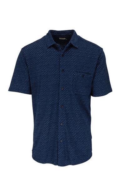 Faherty Brand - Navy Fleck Short Sleeve Pocket Shirt