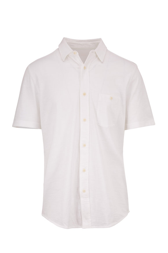 Faherty Brand Solid White Short Sleeve Shirt