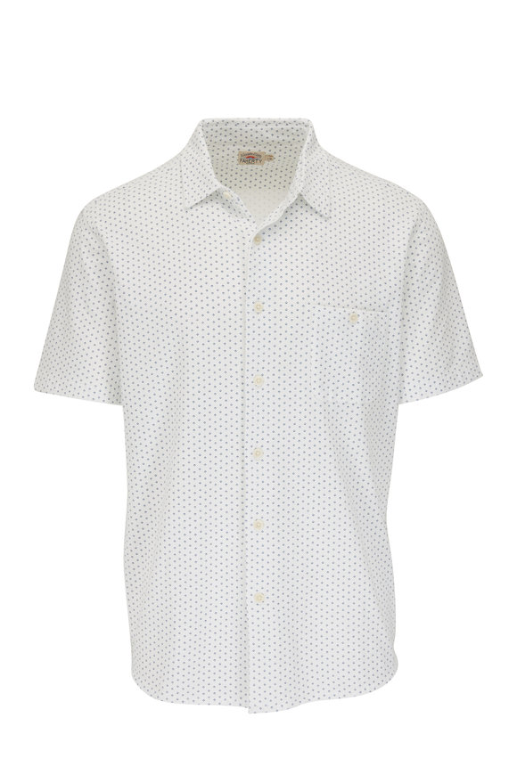 Faherty Brand White Fleck Short Sleeve Pocket Sport Shirt