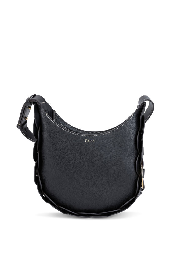 Chloé Darryl Black Grained Leather Small Hobo Bag