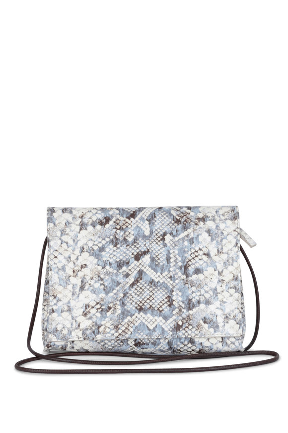 B May Bags Blue & White Snake Print Leather Crossbody