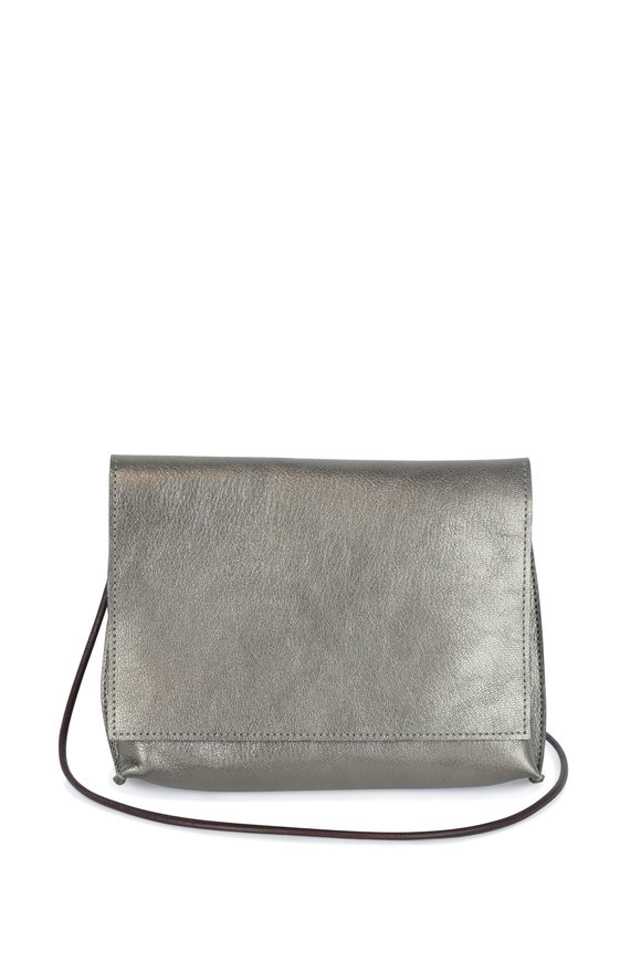 B May Bags Pewter Metallic Leather Small Crossbody