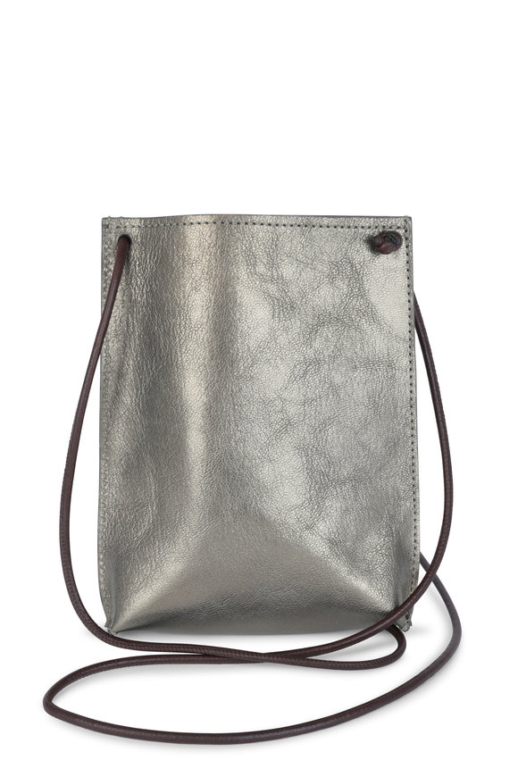 B May Bags Pewter Metallic Leather Cell Phone Pouch
