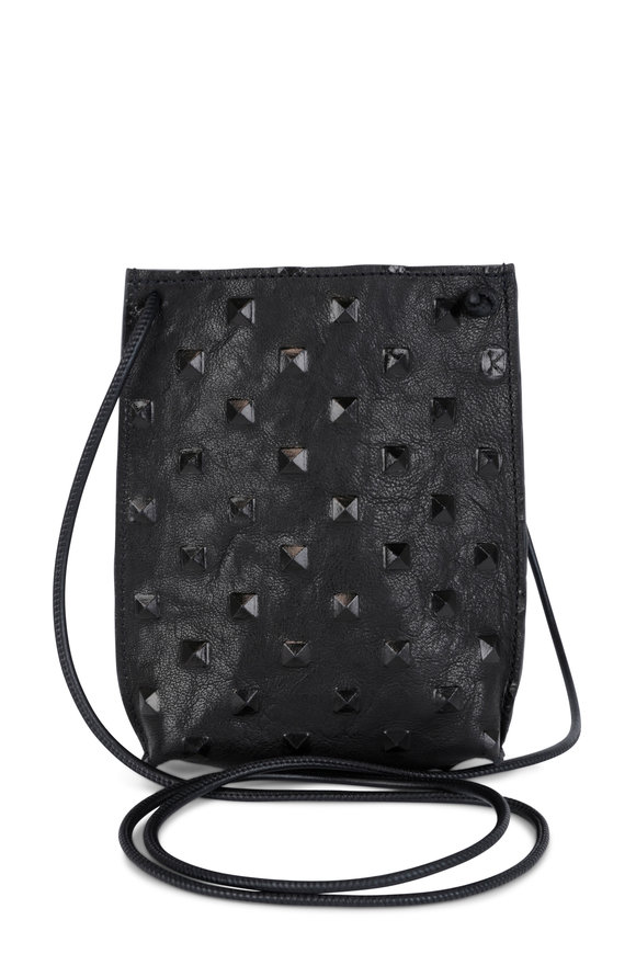 B May Bags Black Studded Leather Cell Phone Pouch