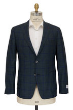 Samuelsohn - Green & Blue Windowpane Wool & Silk Sportcoat