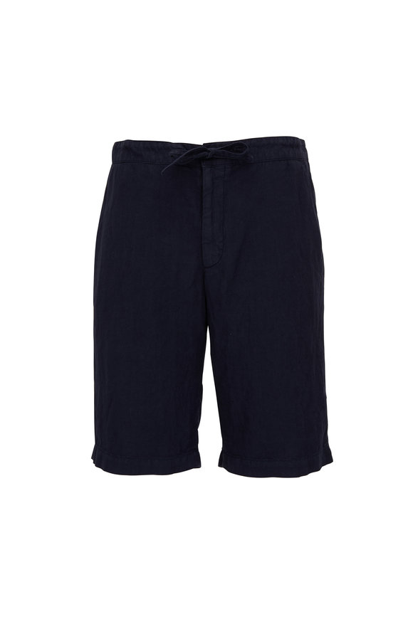 Z Zegna Navy Linen Drawstring Shorts