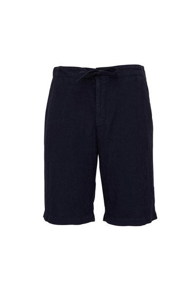 Z Zegna - Navy Linen Drawstring Shorts