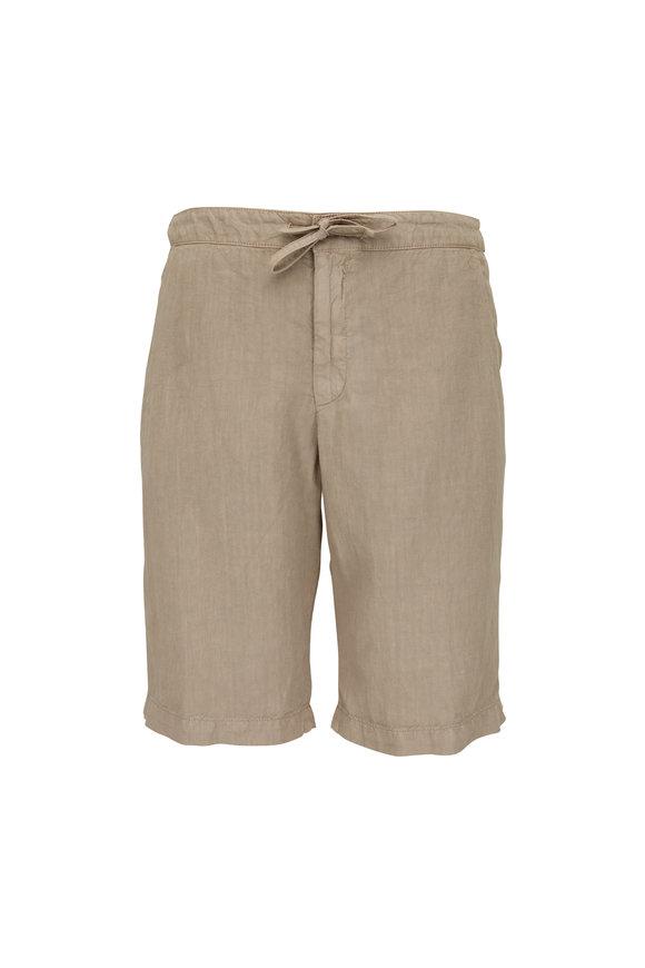 Z Zegna Khaki Linen Drawstring Shorts
