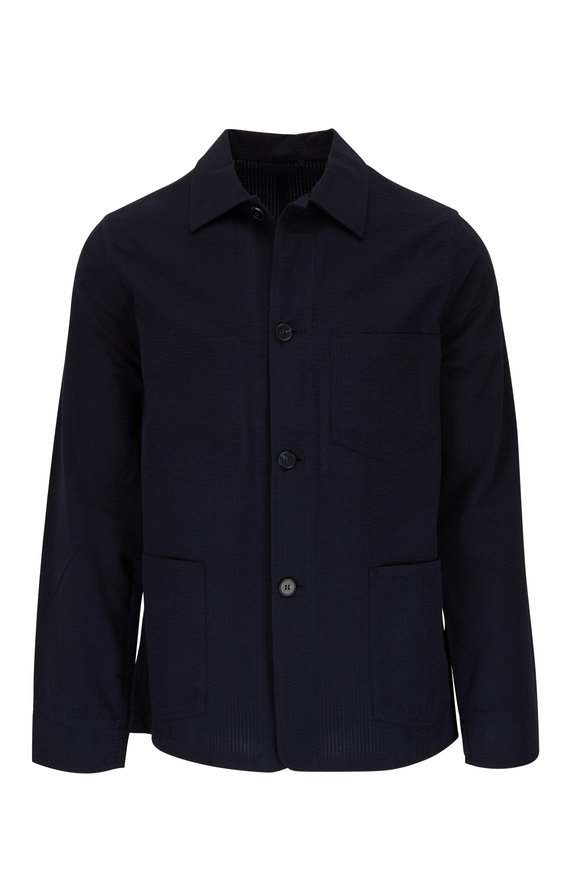 Officine Generale Chore Navy Seersucker Cotton Jacket
