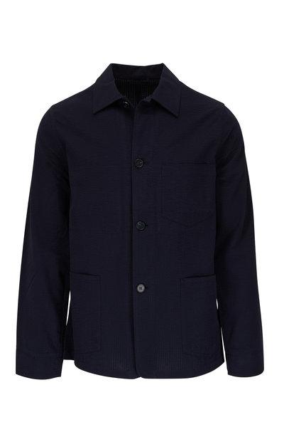 Officine Generale - Chore Navy Seersucker Cotton Jacket