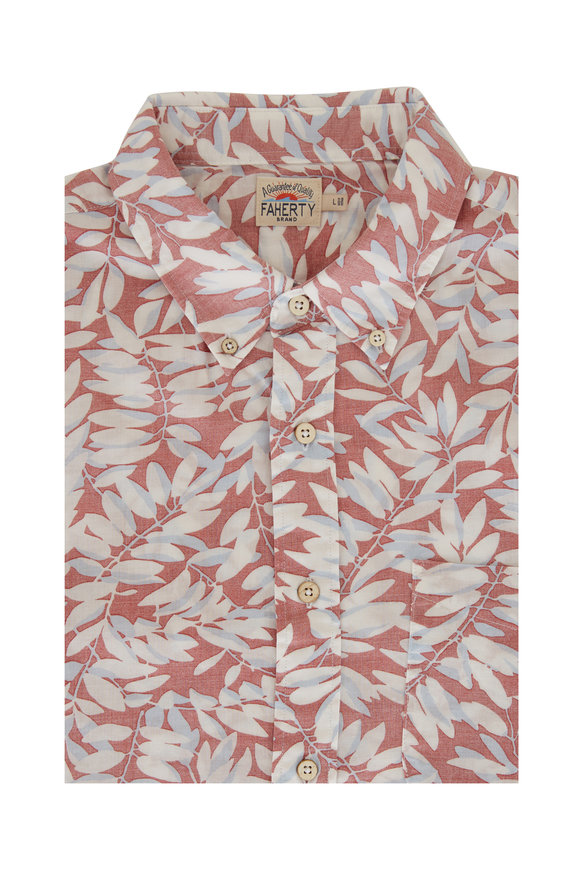 Faherty Brand Playa Faded Red Botanical Short Sleeve Sport Shirt