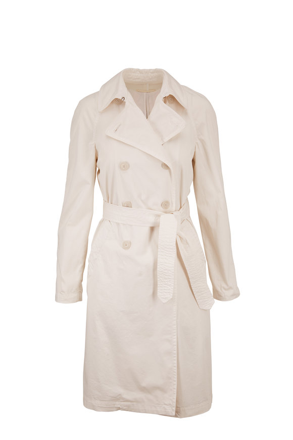 Nili Lotan Oliver White Sand Belted Trench Coat