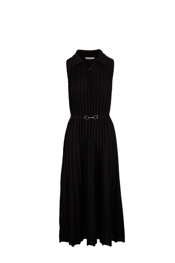 Gabriela Hearst Creusa Black Collared Knit Sleeveless Dress