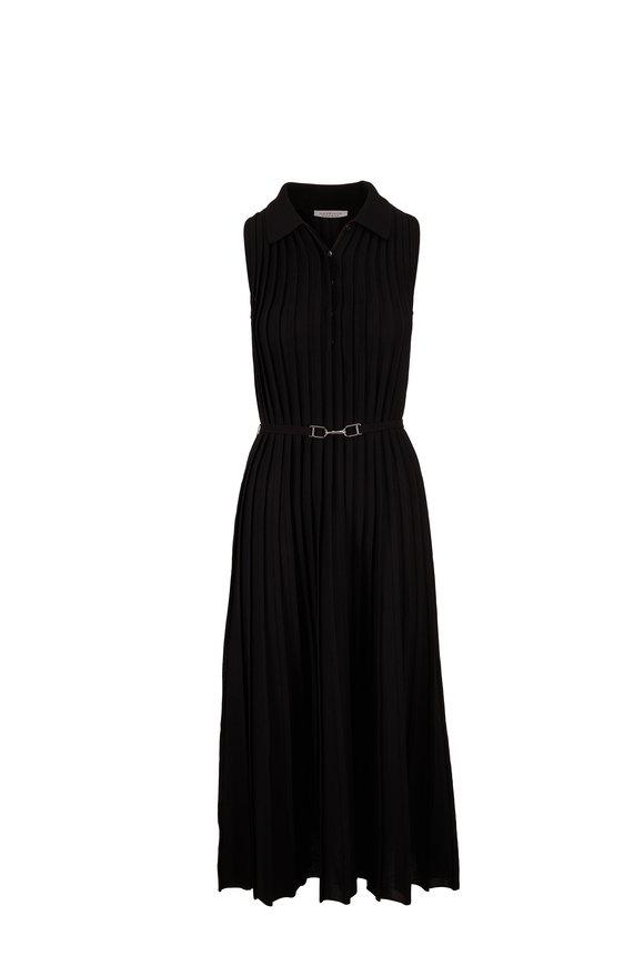 Gabriela Hearst Creusa Black Collared Knit Sleeveless Dress