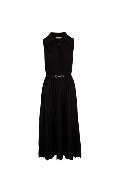 Gabriela Hearst - Creusa Black Collared Knit Sleeveless Dress