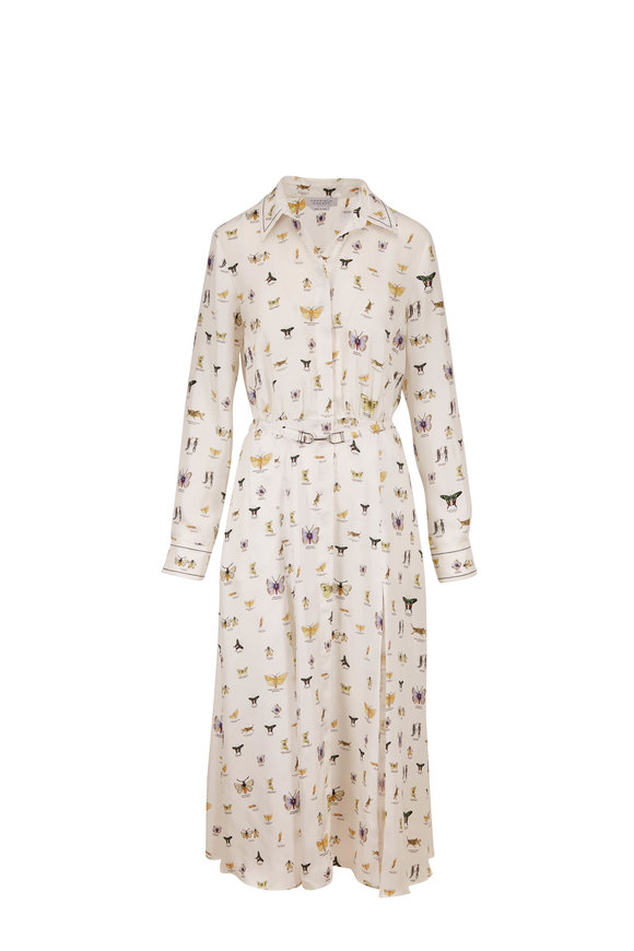 Gabriela Hearst Mariano White Insect Print Silk Long Sleeve Dress