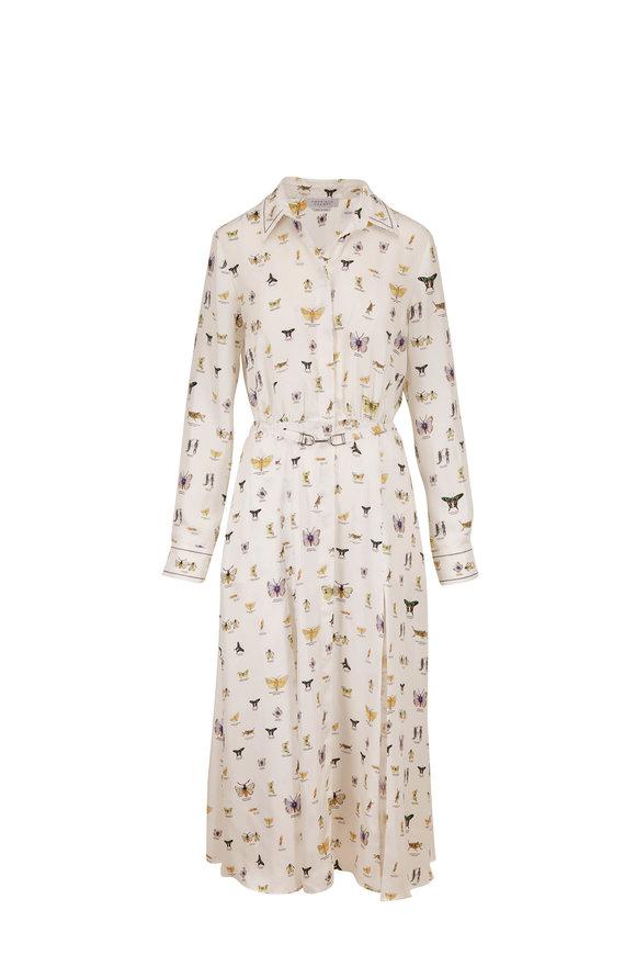 Gabriela Hearst Mariano White Insect Print Silk Long Sleeve Dress