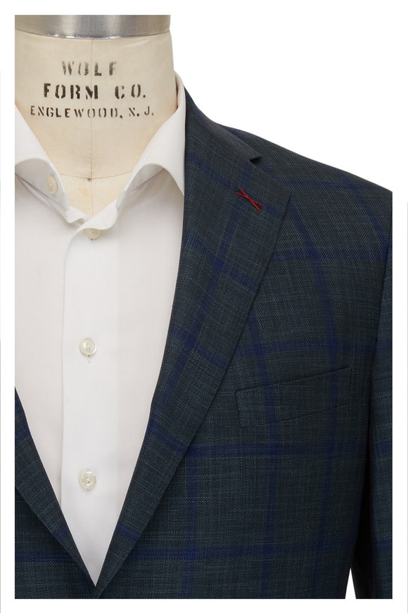 Samuelsohn Green & Blue Windowpane Wool & Silk Sportcoat