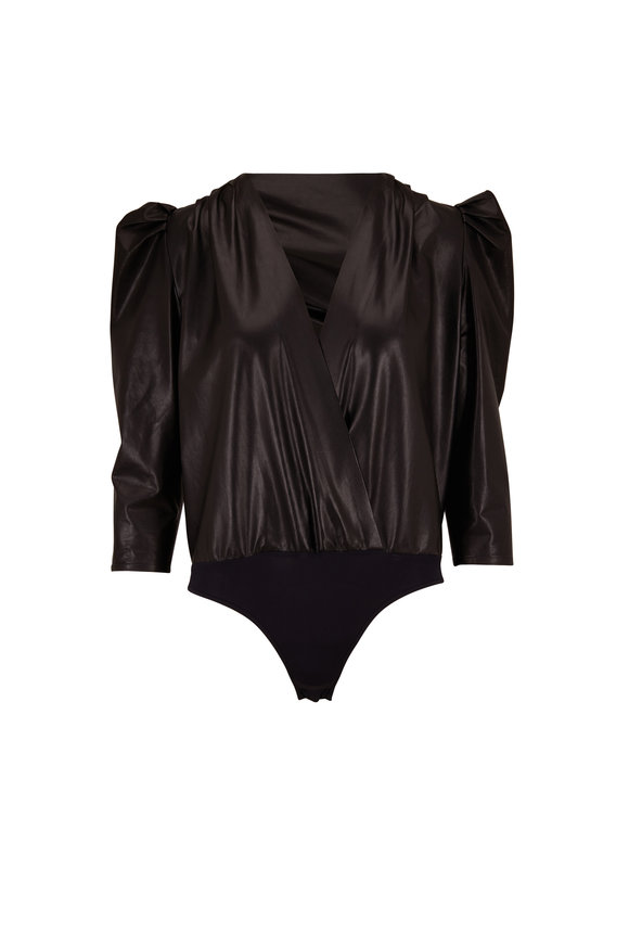 Zeynep Arcay Black Leather Puff Sleeve Wrap Bodysuit
