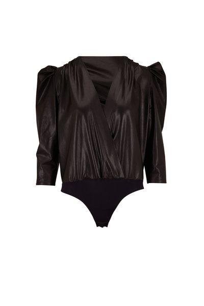 Zeynep Arcay - Black Leather Puff Sleeve Wrap Bodysuit