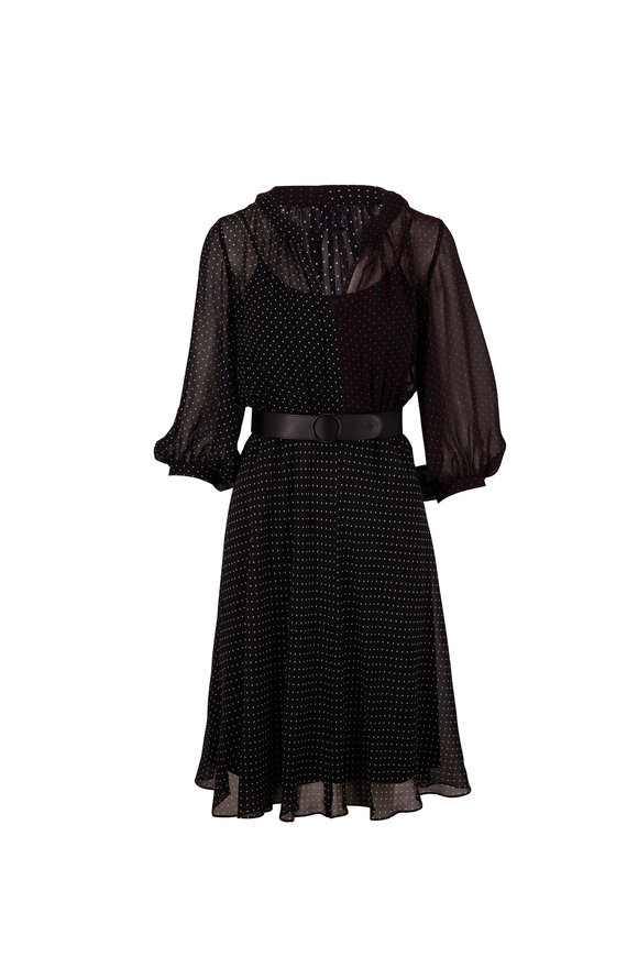 Akris Punto Multi Polka Dot Black Silk Dress