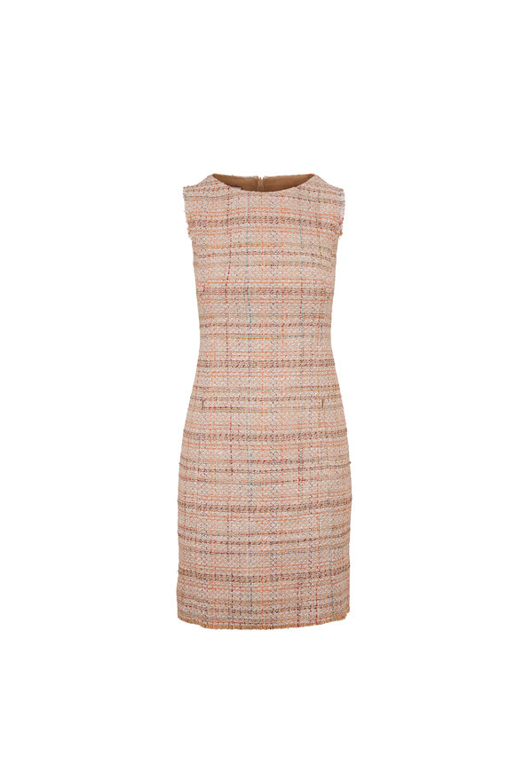 Akris Punto Multicolor Tweed Sleeveless Shift Dress