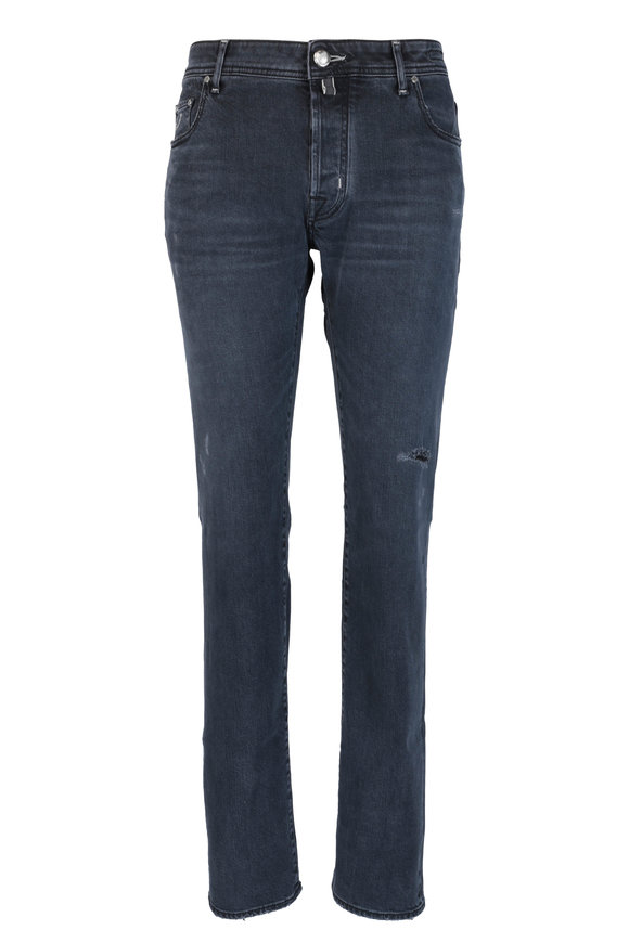 Jacob Cohen  Dark Gray Distressed Five Pocket Jean