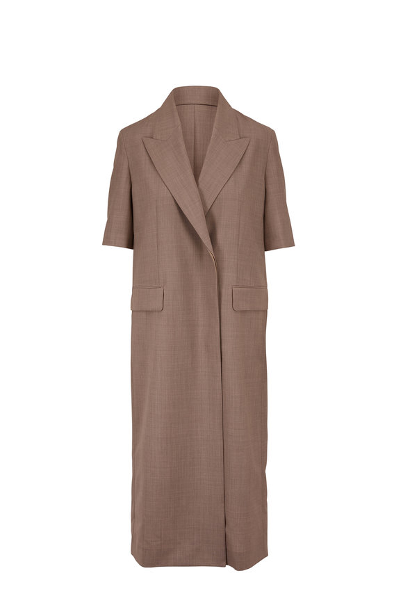 The Row Harriet Moonstone Wool Short Sleeve Coat