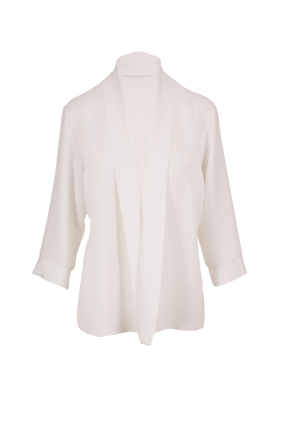 Peter Cohen Rove Bright White Silk Open Jacket
