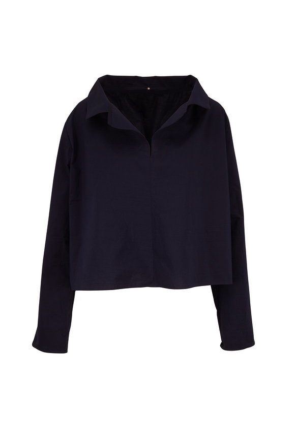 Peter Cohen Revel Navy Blue Collared Blouse
