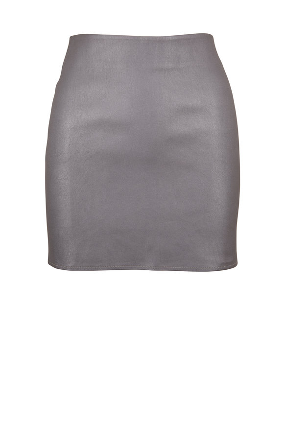 Zeynep Arcay Silver Leather Mini Skirt