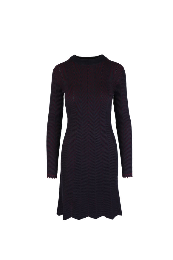See by Chloé Evening Blue Ribbed Knit Long Sleeve Dress