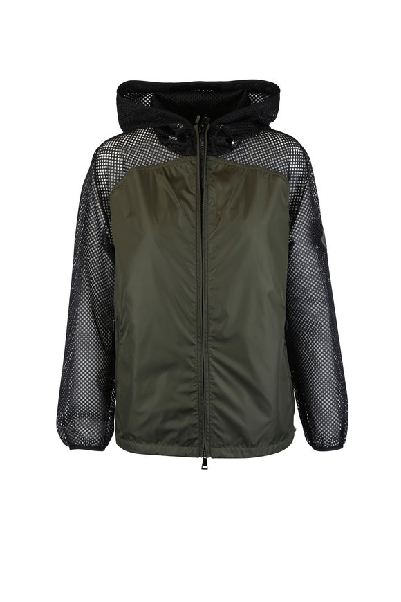 Moncler Green & Black Nylon & Mesh Windbreaker Jacket