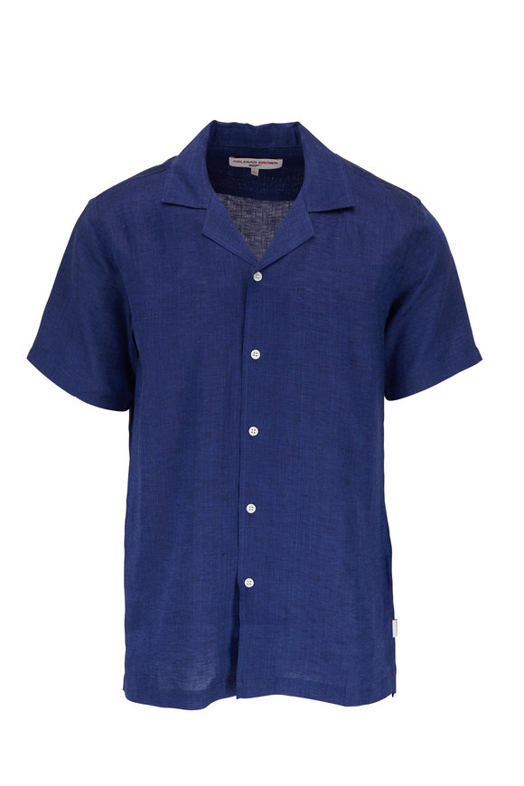 Orlebar Brown Thunderball Blue Linen Short Sleeve Shirt