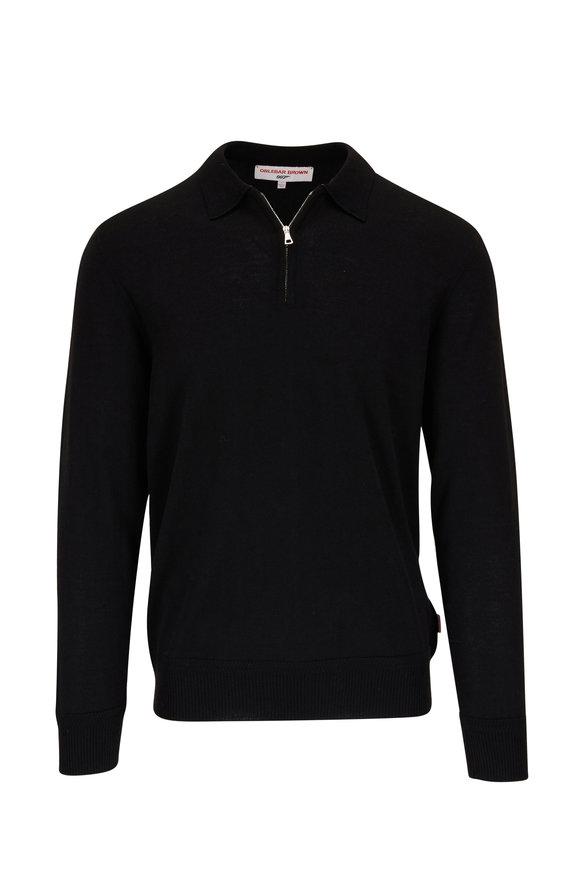 Orlebar Brown Moonraker Black Knit Quarter-Zip Long Sleeve Polo