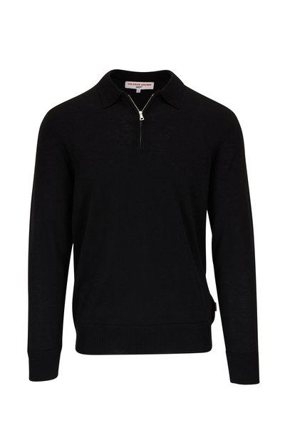Orlebar Brown - Moonraker Black Knit Quarter-Zip Long Sleeve Polo