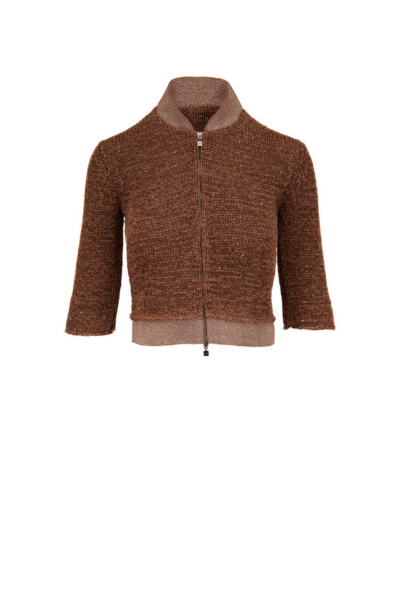 D.Exterior Tobacco Lurex Cropped Knit Bomber