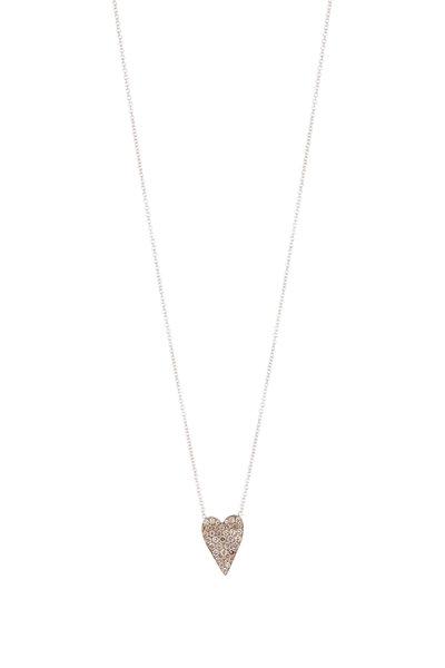 Sylva & Cie - 18K Gold & Silver Champagne Diamond Heart Pendant