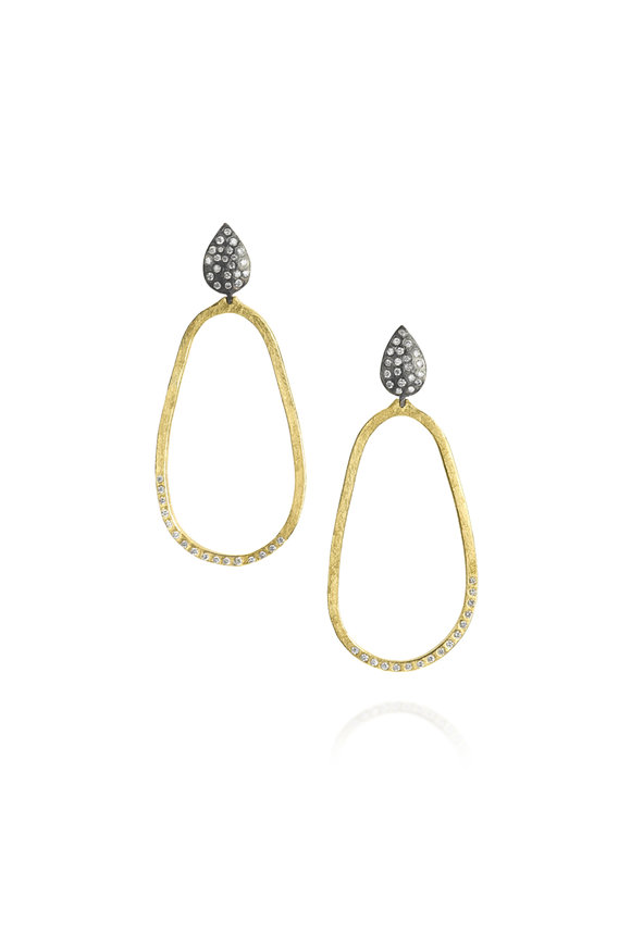 Todd Reed 18K Yellow Gold & Silver Diamond Top Hoop Earrings