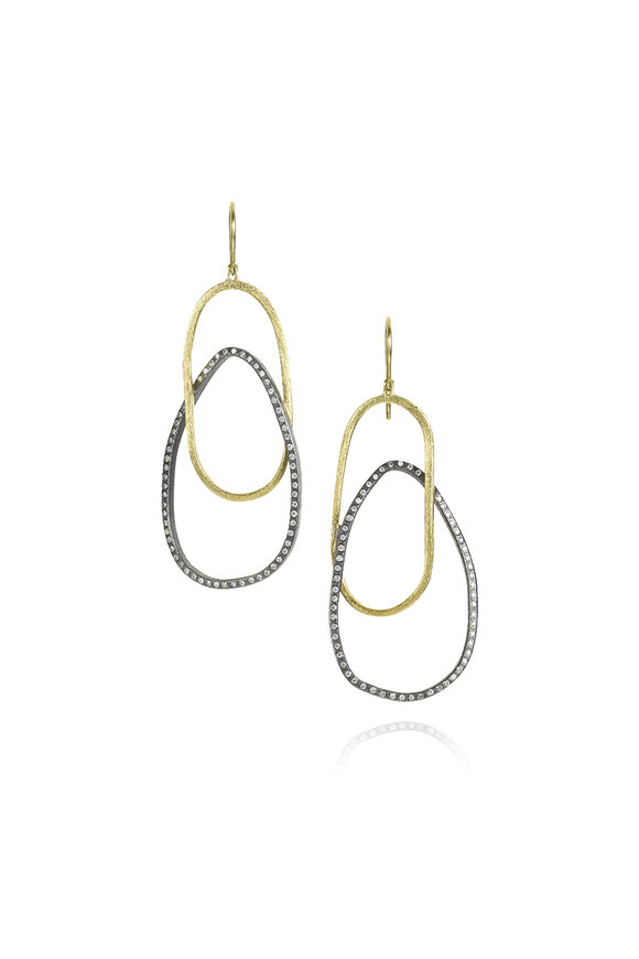 Todd Reed 18K Yellow Gold & Silver Double Hoop Earrings