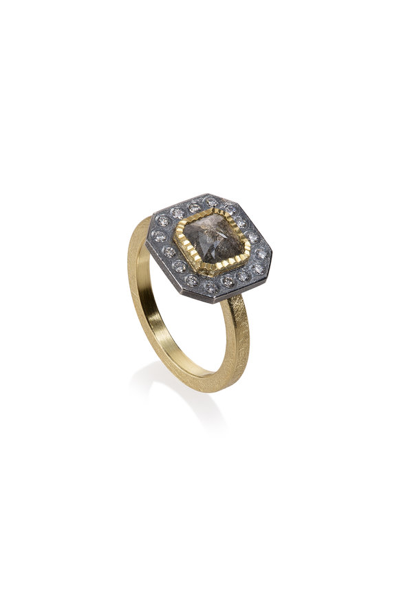 Todd Reed 18K Yellow Gold & Silver Double Diamond Ring