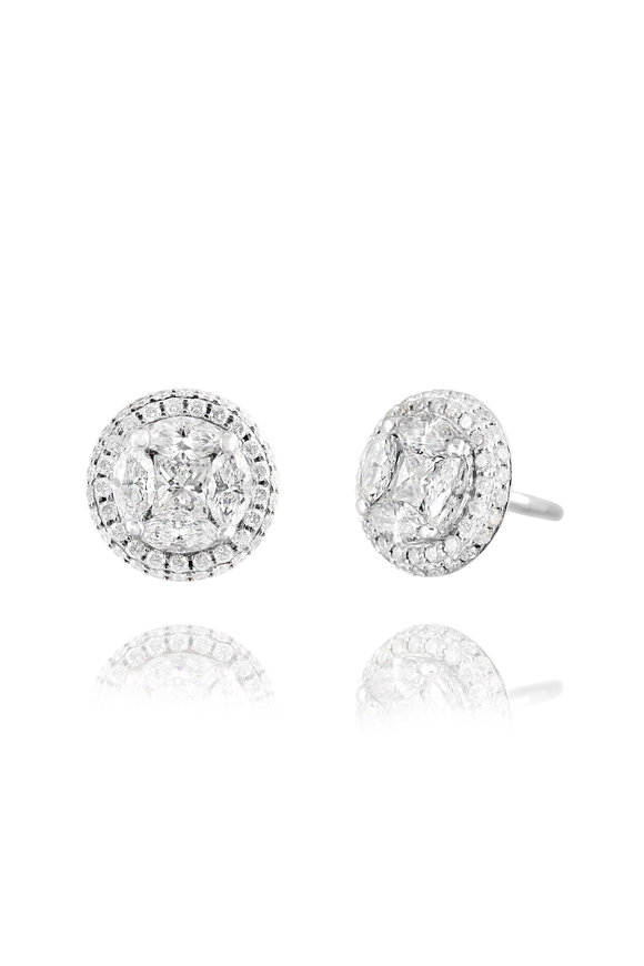Nam Cho White Gold Invisible Diamond Post Earrings