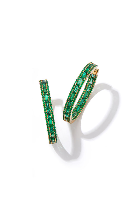 Katherine Jetter 18K Yellow Gold Origami Emerald Hoop Earrings