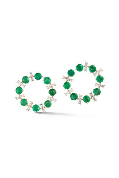 Katherine Jetter - Yellow Gold Emerald & Diamond Crescent Earrings