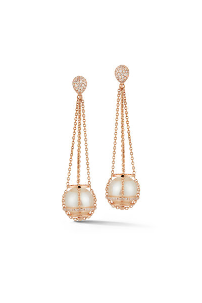 Katherine Jetter - 18K Rose Gold South Sea Pearl Chain Earrings