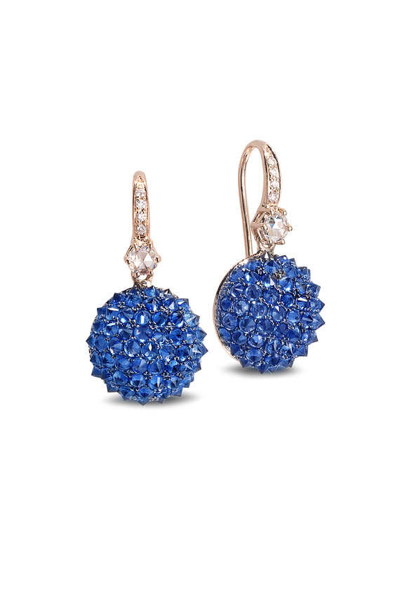 Nam Cho 18K Rose Gold Sapphire Half Ball Earrings